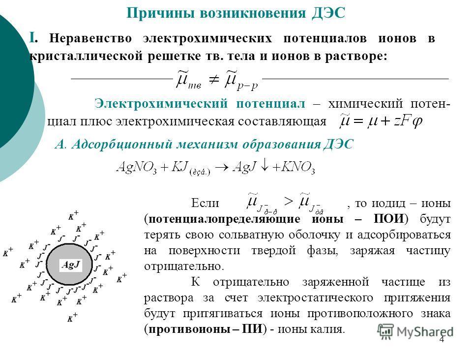 4 Причины возникновения ДЭС I. Н еравенство электрохимических потенциалов ионов в кристаллической решетке тв. тела и ионов в растворе: Электрохимический потенциал – химический потен- циал плюс электрохимическая составляющая А. Адсорбционный механизм
