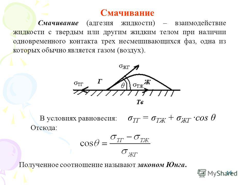16 Смачивание Смачивание (адгезия жидкости) – взаимодействие жидкости с твердым или другим жидким телом при наличии одновременного контакта трех несмешивающихся фаз, одна из которых обычно является газом (воздух). В условиях равновесия: σ ТГ = σ ТЖ +