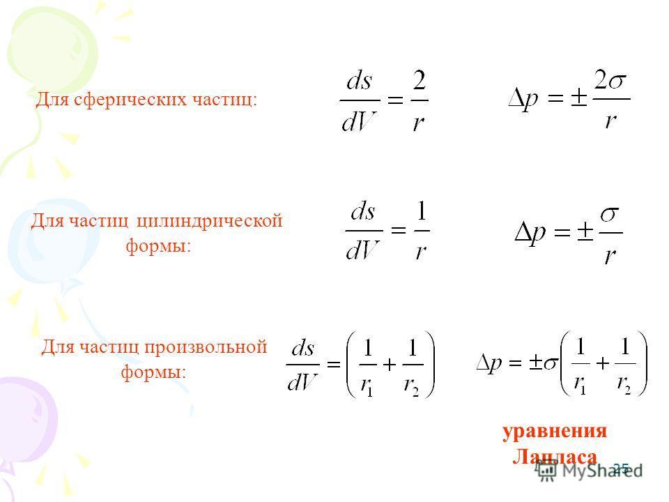 25 Для сферических частиц: Для частиц цилиндрической формы: Для частиц произвольной формы: уравнения Лапласа