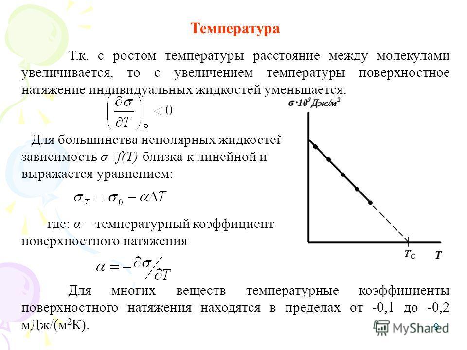 9 Температура Т.к. с ростом температуры расстояние между молекулами увеличивается, то с увеличением температуры поверхностное натяжение индивидуальных жидкостей уменьшается: Для большинства неполярных жидкостей зависимость σ=f(T) близка к линейной и