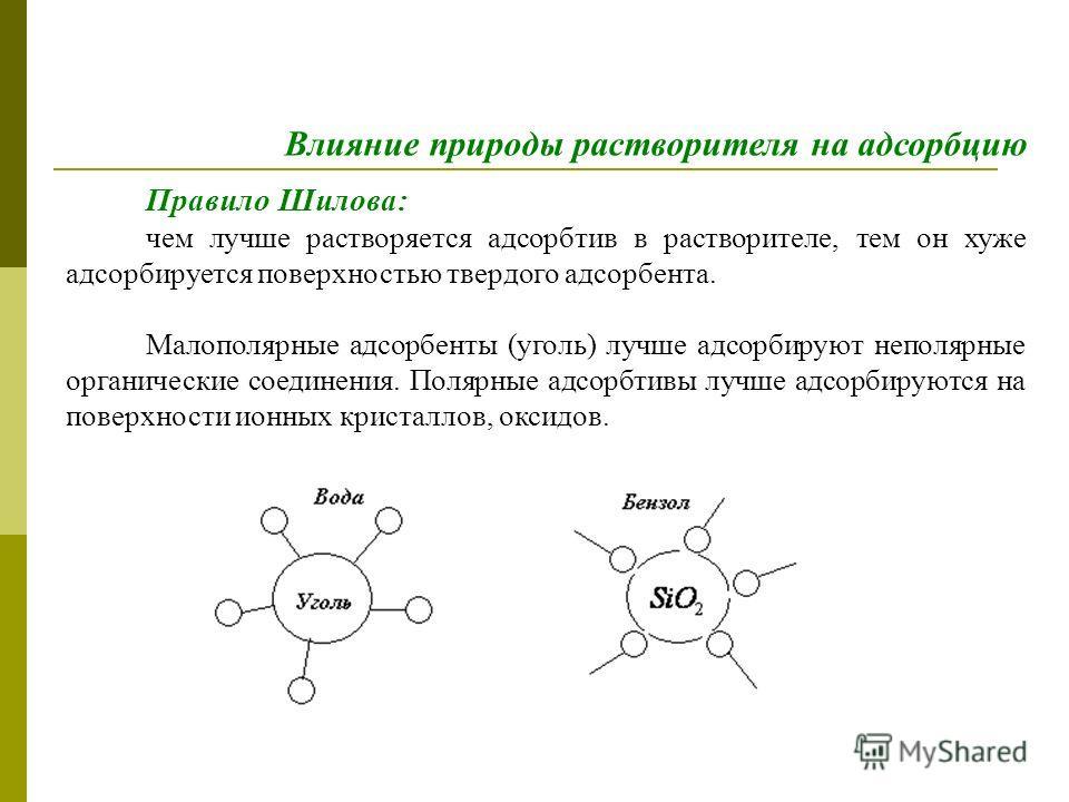 Правило Шилова: чем лучше растворяется адсорбтив в растворителе, тем он хуже адсорбируется поверхностью твердого адсорбента. Малополярные адсорбенты (уголь) лучше адсорбируют неполярные органические соединения. Полярные адсорбтивы лучше адсорбируются