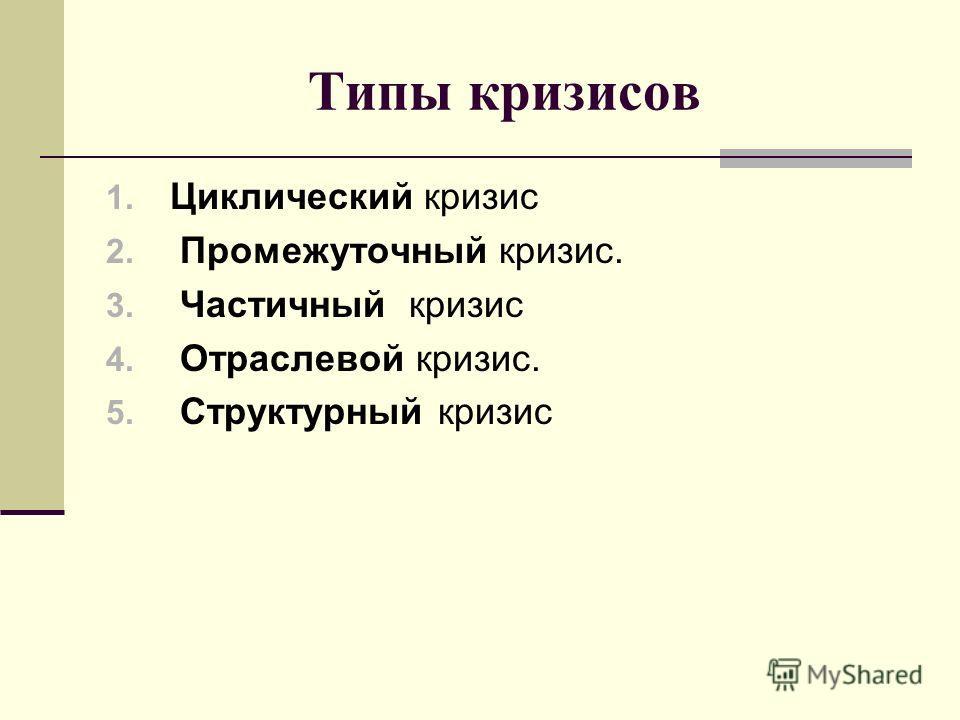 Типы кризисов 1. Циклический кризис 2. Промежуточный кризис. 3. Частичный кризис 4. Отраслевой кризис. 5. Структурный кризис