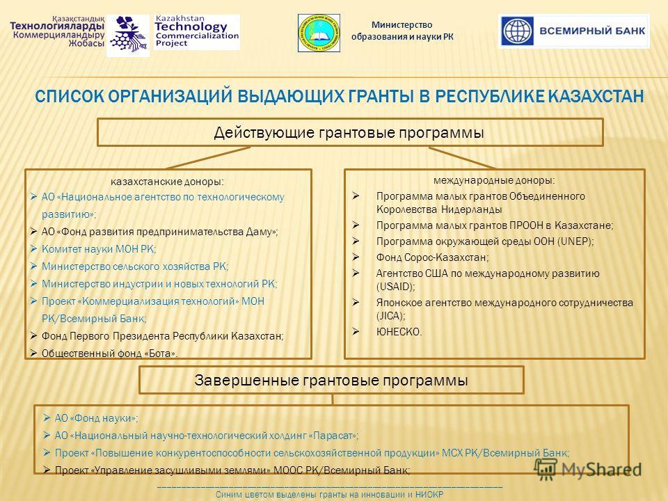 СПИСОК ОРГАНИЗАЦИЙ ВЫДАЮЩИХ ГРАНТЫ В РЕСПУБЛИКЕ КАЗАХСТАН международные доноры: Программа малых грантов Объединенного Королевства Нидерланды Программа малых грантов ПРООН в Казахстане; Программа окружающей среды ООН (UNEP); Фонд Сорос-Казахстан; Аген
