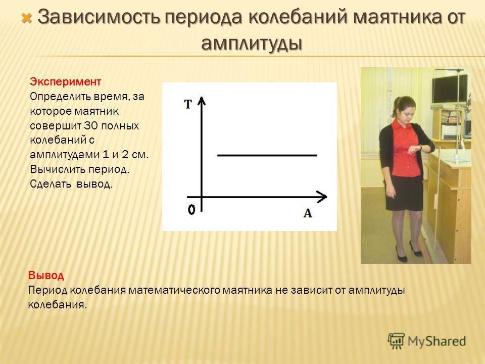 Зависимость периода колебаний маятника от амплитуды Зависимость периода колебаний маятника от амплитуды Эксперимент Определить время, за которое маятник совершит 30 полных колебаний с амплитудами 1 и 2 см. Вычислить период. Сделать вывод. Вывод Перио