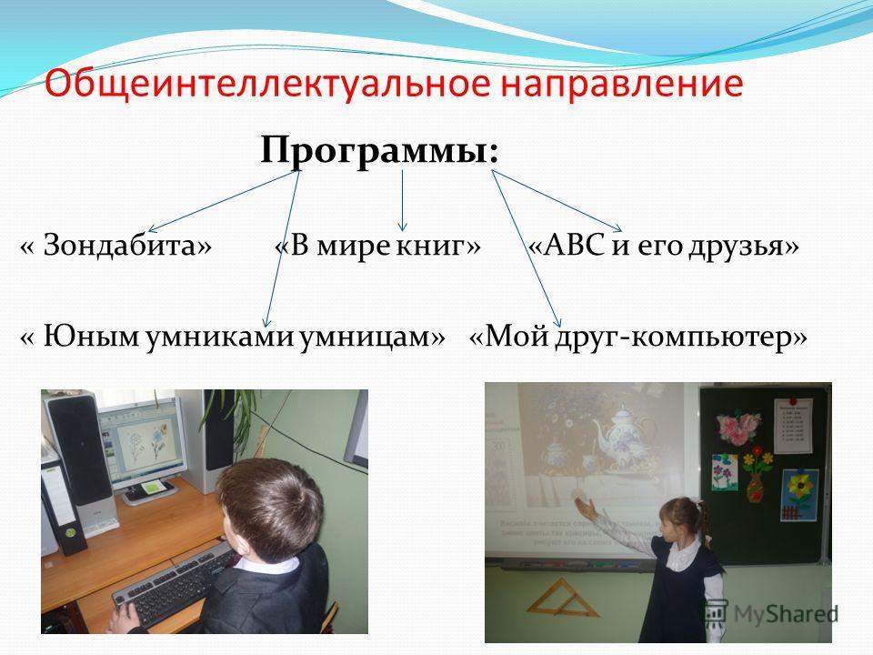Общеинтеллектуальное направление Программы: « Зондабита» «В мире книг» «АВС и его друзья» « Юным умниками умницам» «Мой друг-компьютер»