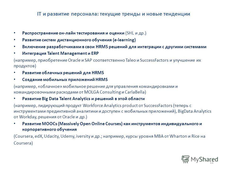 IT и развитие персонала: текущие тренды и новые тенденции Распространение он-лайн тестирования и оценки (SHL и др.) Развитие систем дистанционного обучения (e-learning) Включение разработчиками в свои HRMS решений для интеграции с другими системами И
