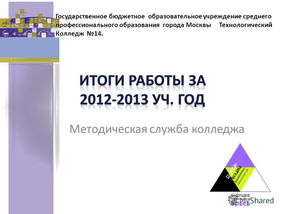 Методическая служба колледжа Государственное бюджетное образовательное учреждение среднего профессионального образования города Москвы Технологический Колледж 14.