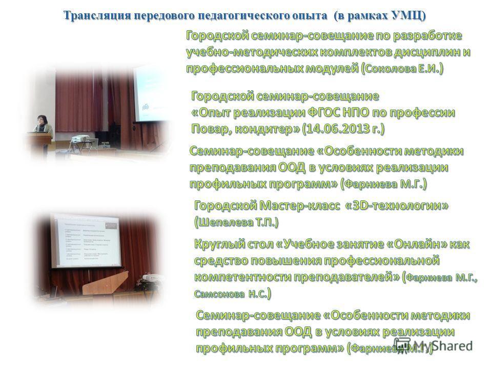 Трансляция передового педагогического опыта (в рамках УМЦ)
