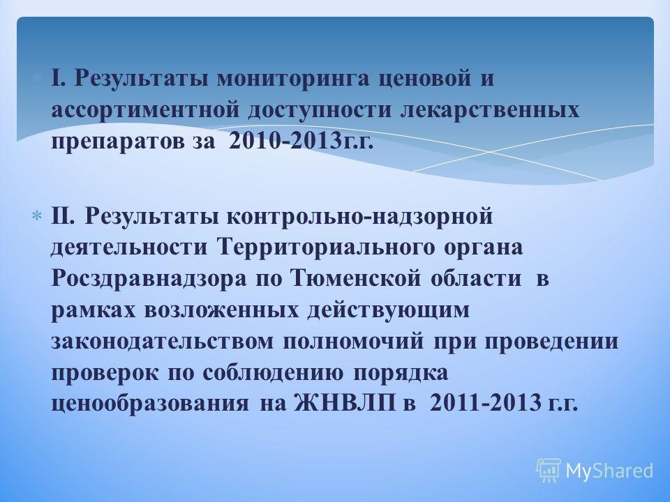 I. Результаты мониторинга ценовой и ассортиментной доступности лекарственных препаратов за 2010-2013г.г. II. Результаты контрольно-надзорной деятельности Территориального органа Росздравнадзора по Тюменской области в рамках возложенных действующим за