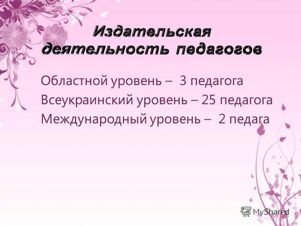 Областной уровень – 3 педагога Всеукраинский уровень – 25 педагога Международный уровень – 2 педага