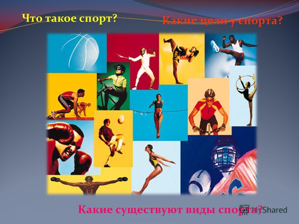 Что такое спорт? Какие существуют виды спорта? Какие цели у спорта?
