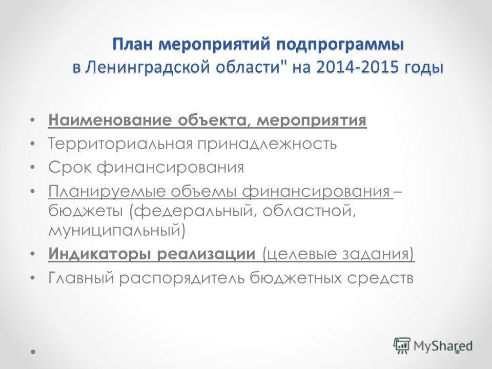 План мероприятий подпрограммы в Ленинградской области