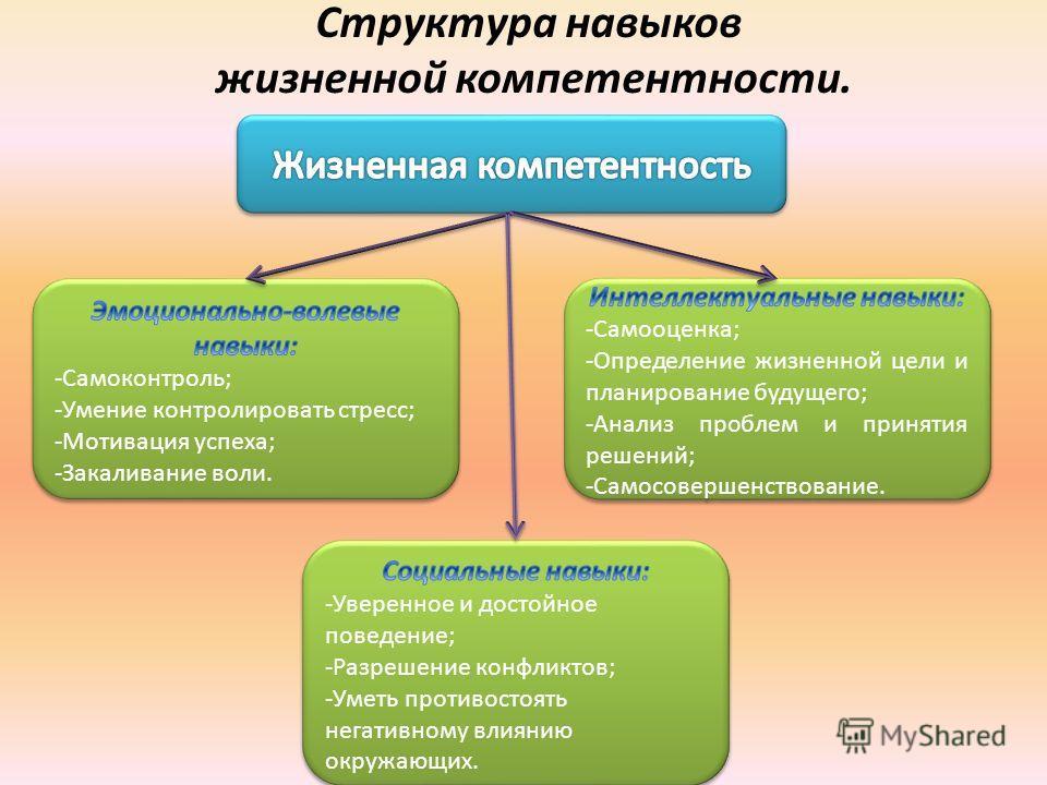 Структура навыков жизненной компетентности.