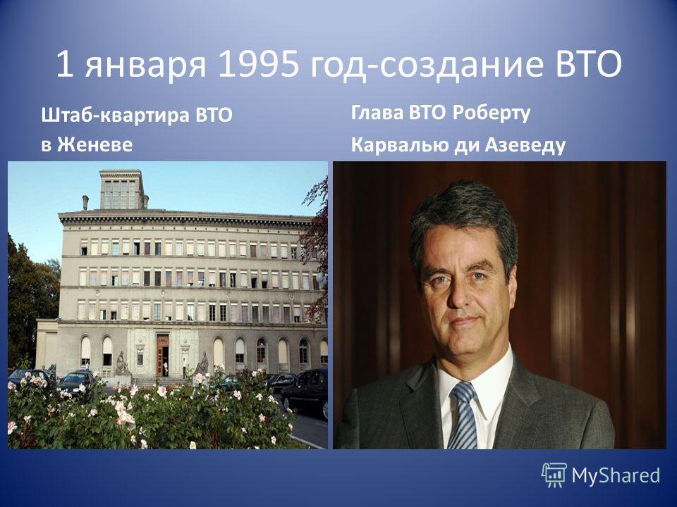 1 января 1995 год-создание ВТО Штаб-квартира ВТО в Женеве Глава ВТО Роберту Карвалью ди Азеведу
