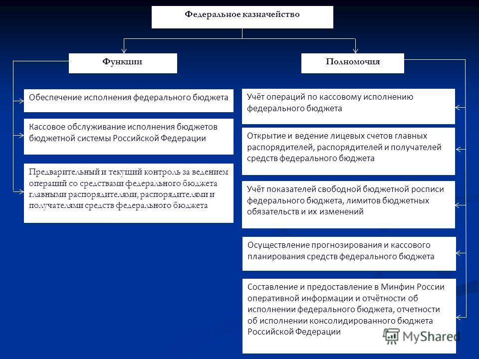 Учёт операций по кассовому исполнению федерального бюджета Открытие и ведение лицевых счетов главных распорядителей, распорядителей и получателей средств федерального бюджета Федеральное казначейство ФункцииПолномочия Обеспечение исполнения федеральн