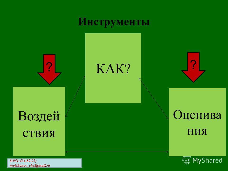Инструменты ? ? Воздей ствия КАК? Оценива ния 8-951-431-82-23; molchanov_chel@mail.ru