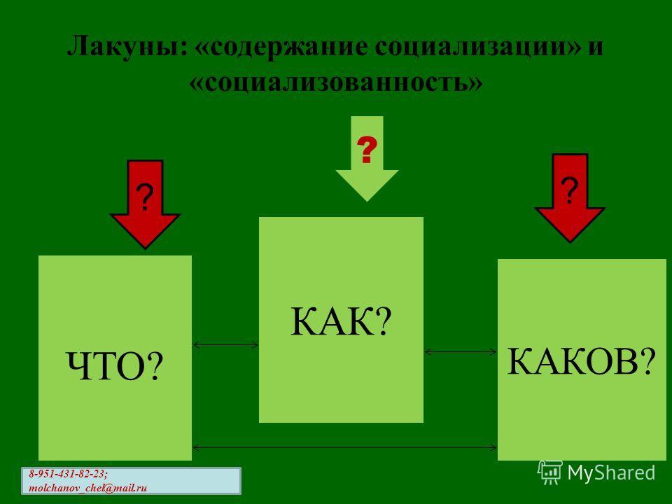 Лакуны: «содержание социализации» и «социализованность» ? ? ? ЧТО? КАК? КАКОВ? 8-951-431-82-23; molchanov_chel@mail.ru