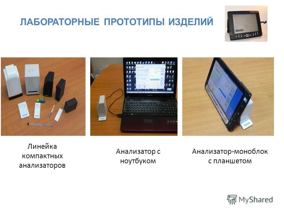 ЛАБОРАТОРНЫЕ ПРОТОТИПЫ ИЗДЕЛИЙ Линейка компактных анализаторов Анализатор с ноутбуком Анализатор-моноблок с планшетом