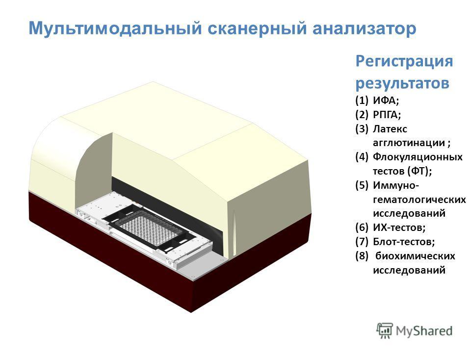 Регистрация результатов (1)ИФА; (2)РПГА; (3)Латекс агглютинации ; (4)Флокуляционных тестов (ФТ); (5)Иммуно- гематологических исследований (6)ИХ-тестов; (7)Блот-тестов; (8) биохимических исследований Мультимодальный сканерный анализатор