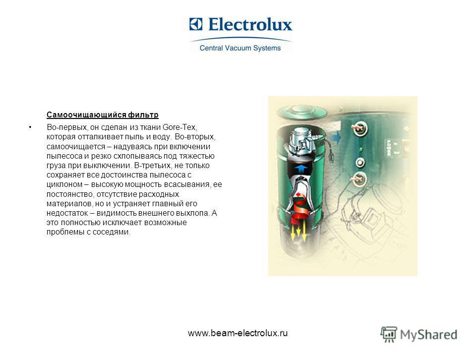 www.beam-electrolux.ru Самоочищающийся фильтр Во-первых, он сделан из ткани Gore-Tex, которая отталкивает пыль и воду. Во-вторых, самоочищается – надуваясь при включении пылесоса и резко схлопываясь под тяжестью груза при выключении. В-третьих, не то