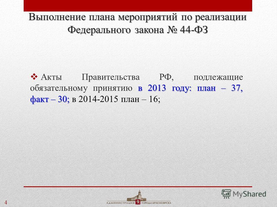 4 Выполнение плана мероприятий по реализации Федерального закона 44-ФЗ в 2013 году: план – 37, факт – 30; Акты Правительства РФ, подлежащие обязательному принятию в 2013 году: план – 37, факт – 30; в 2014-2015 план – 16;