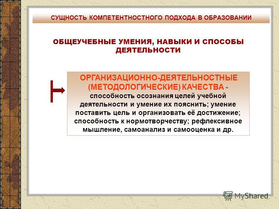 СУЩНОСТЬ КОМПЕТЕНТНОСТНОГО ПОДХОДА В ОБРАЗОВАНИИ ОБЩЕУЧЕБНЫЕ УМЕНИЯ, НАВЫКИ И СПОСОБЫ ДЕЯТЕЛЬНОСТИ ОРГАНИЗАЦИОННО-ДЕЯТЕЛЬНОСТНЫЕ (МЕТОДОЛОГИЧЕСКИЕ) КАЧЕСТВА - способность осознания целей учебной деятельности и умение их пояснить; умение поставить цел