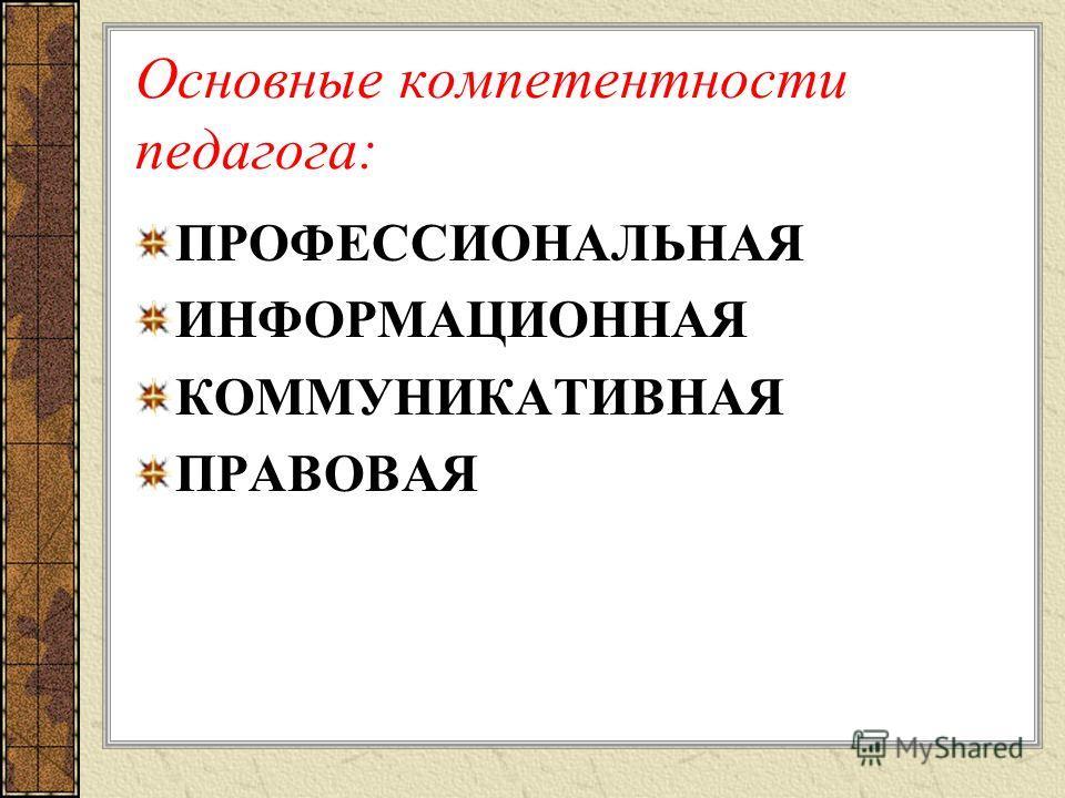 Основные компетентности педагога: ПРОФЕССИОНАЛЬНАЯ ИНФОРМАЦИОННАЯ КОММУНИКАТИВНАЯ ПРАВОВАЯ