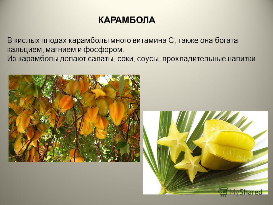 В кислых плодах карамболы много витамина С, также она богата кальцием, магнием и фосфором. Из карамболы делают салаты, соки, соусы, прохладительные напитки. КАРАМБОЛА