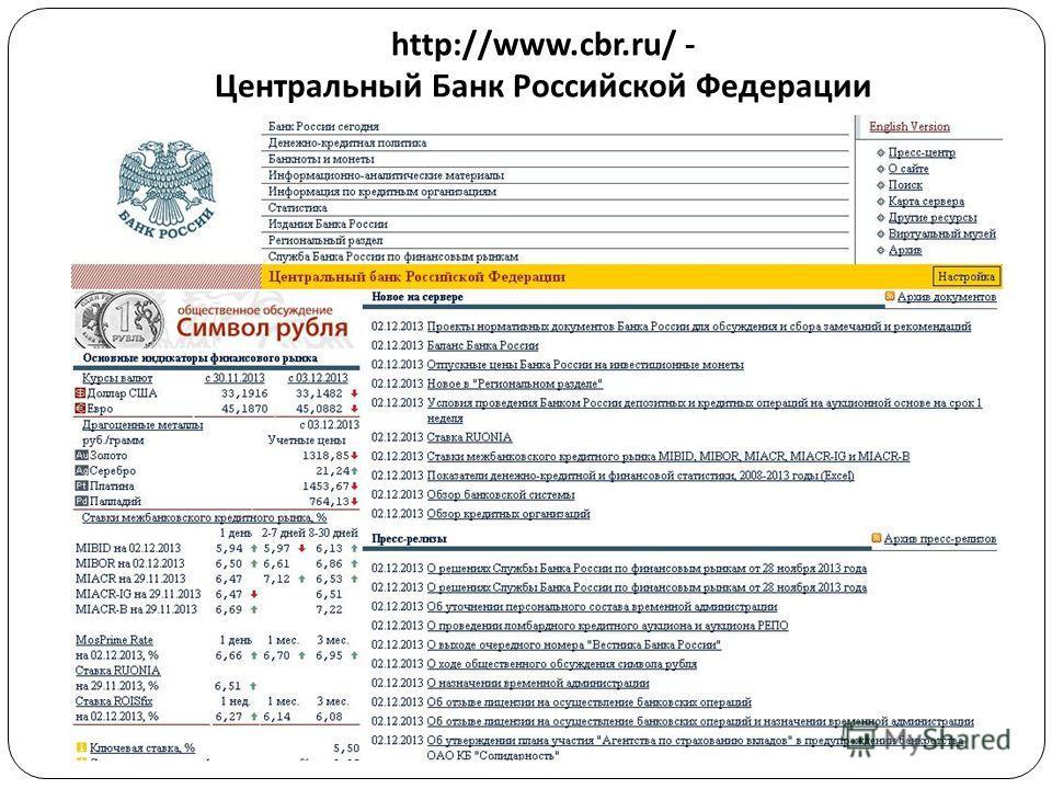 http://www.cbr.ru/ - Центральный Банк Российской Федерации