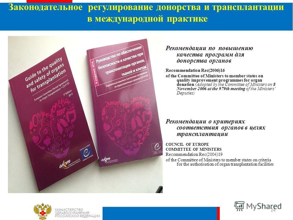 Рекомендации по повышению качества программ для донорства органов Recommendation Rec(2006)16 of the Committee of Ministers to member states on quality improvement programmes for organ donation (Adopted by the Committee of Ministers on 8 November 2006