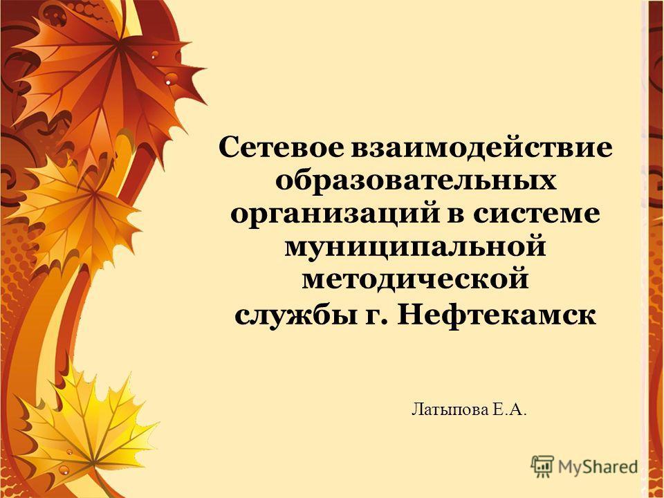 Сетевое взаимодействие образовательных организаций в системе муниципальной методической службы г. Нефтекамск Латыпова Е.А.