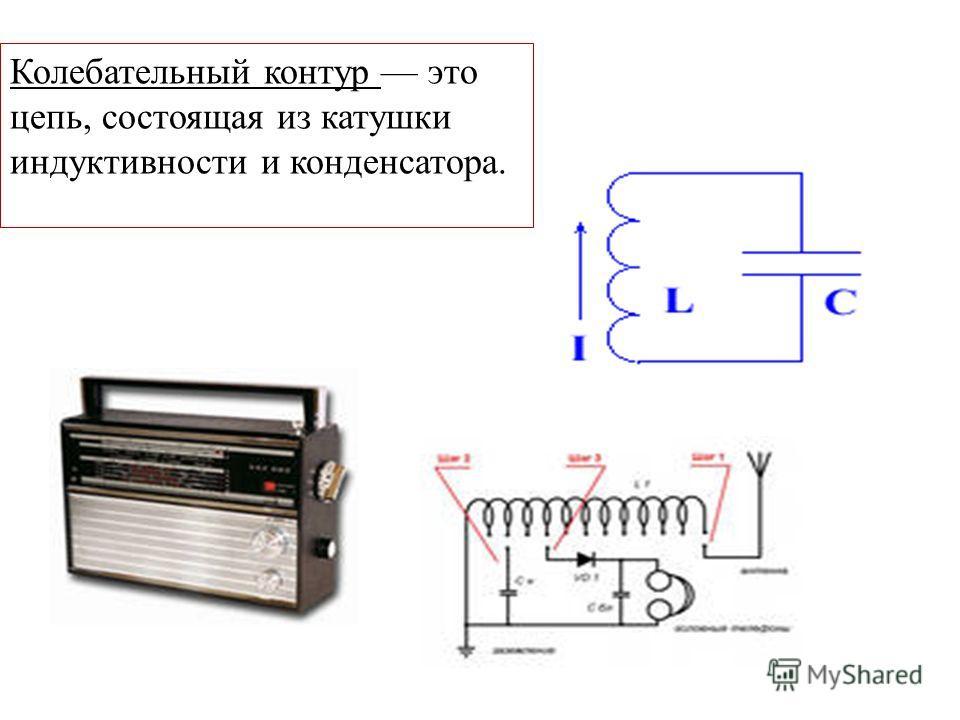 Колебательный контур это цепь, состоящая из катушки индуктивности и конденсатора.