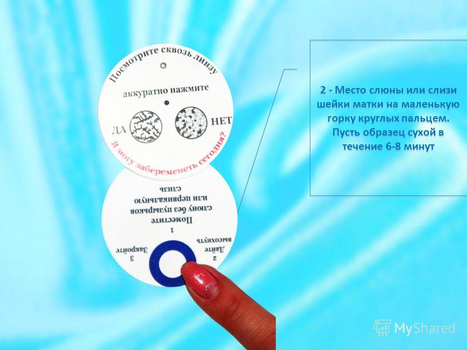 2 - Место слюны или слизи шейки матки на маленькую горку круглых пальцем. Пусть образец сухой в течение 6-8 минут