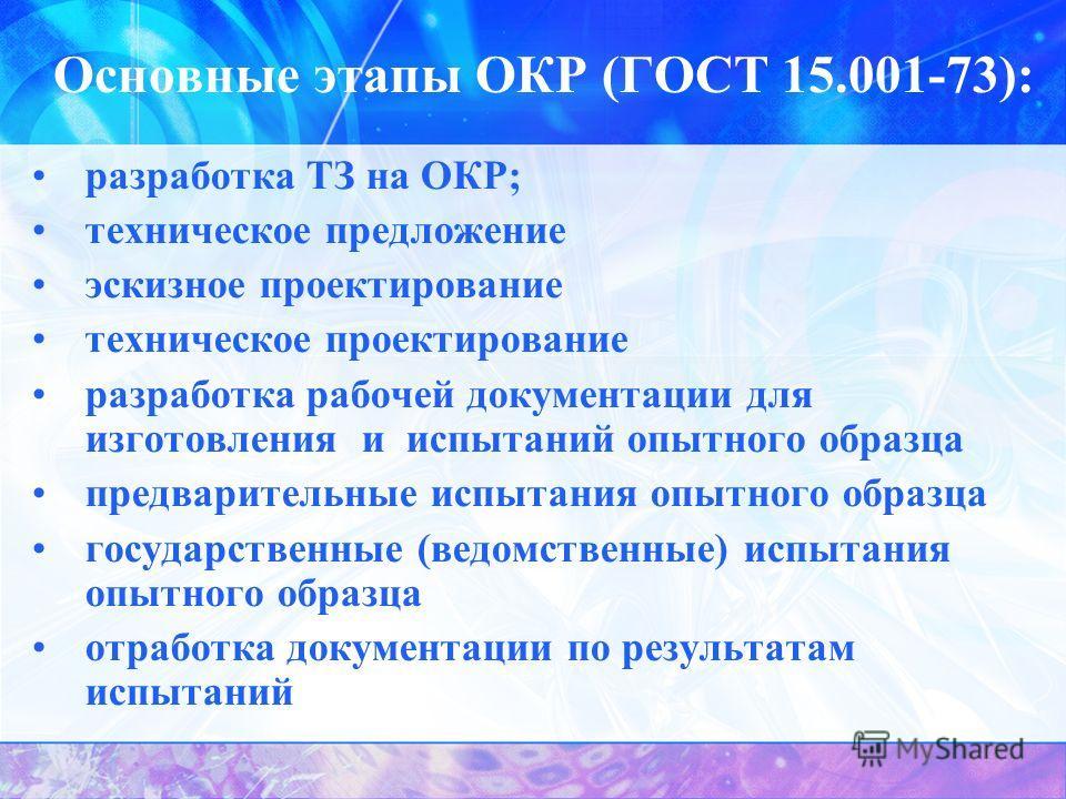 Основные этапы ОКР (ГОСТ 15.001-73): разработка ТЗ на ОКР; техническое предложение эскизное проектирование техническое проектирование разработка рабочей документации для изготовления и испытаний опытного образца предварительные испытания опытного обр
