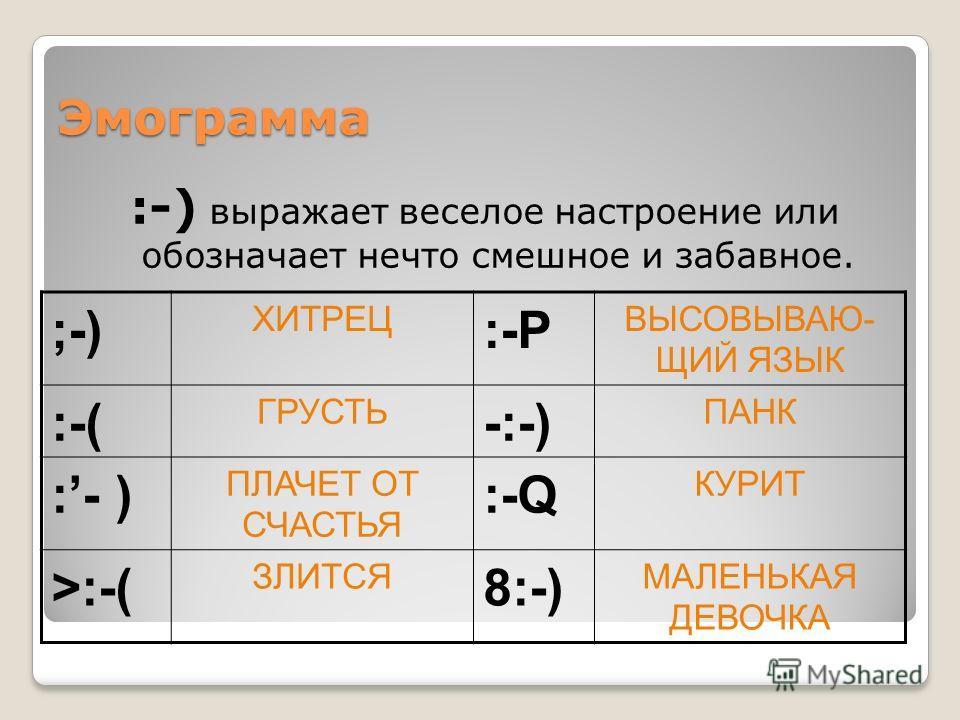 Эмограмма :-) выражает веселое настроение или обозначает нечто смешное и забавное. ;-) ХИТРЕЦ :-Р ВЫСОВЫВАЮ- ЩИЙ ЯЗЫК :-( ГРУСТЬ -:-) ПАНК :- ) ПЛАЧЕТ ОТ СЧАСТЬЯ :-Q КУРИТ >:-( ЗЛИТСЯ 8:-) МАЛЕНЬКАЯ ДЕВОЧКА