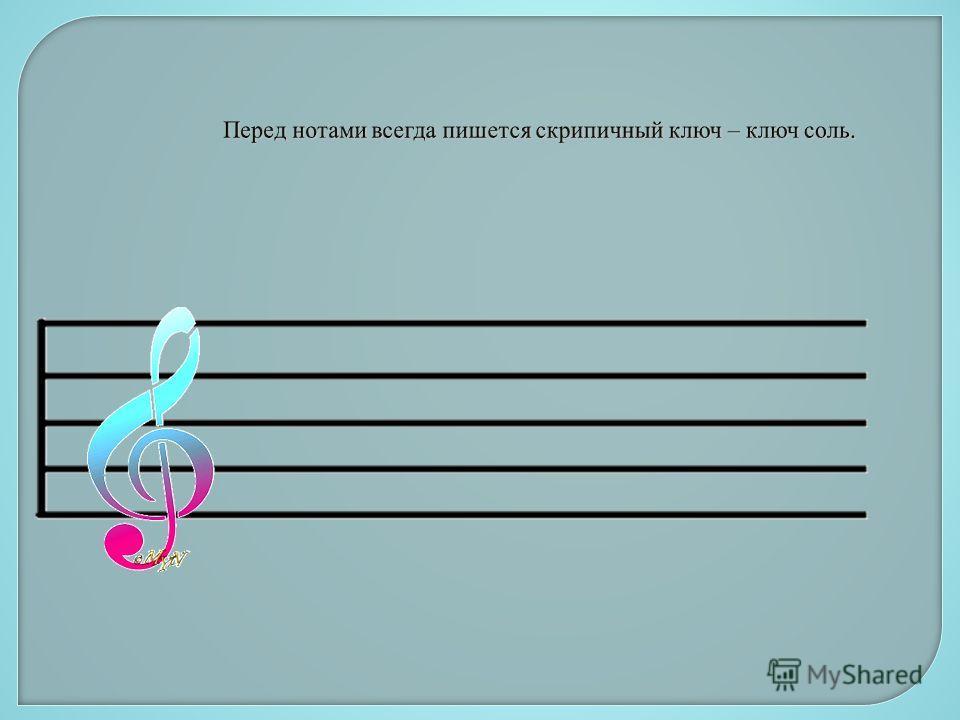 Перед нотами всегда пишется скрипичный ключ – ключ соль.