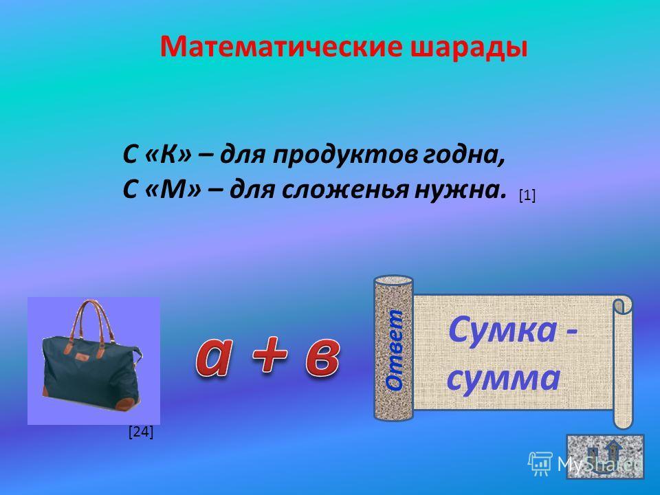 Математические шарады С «К» – для продуктов годна, С «М» – для сложенья нужна. Сумка - сумма Ответ [1] [24]
