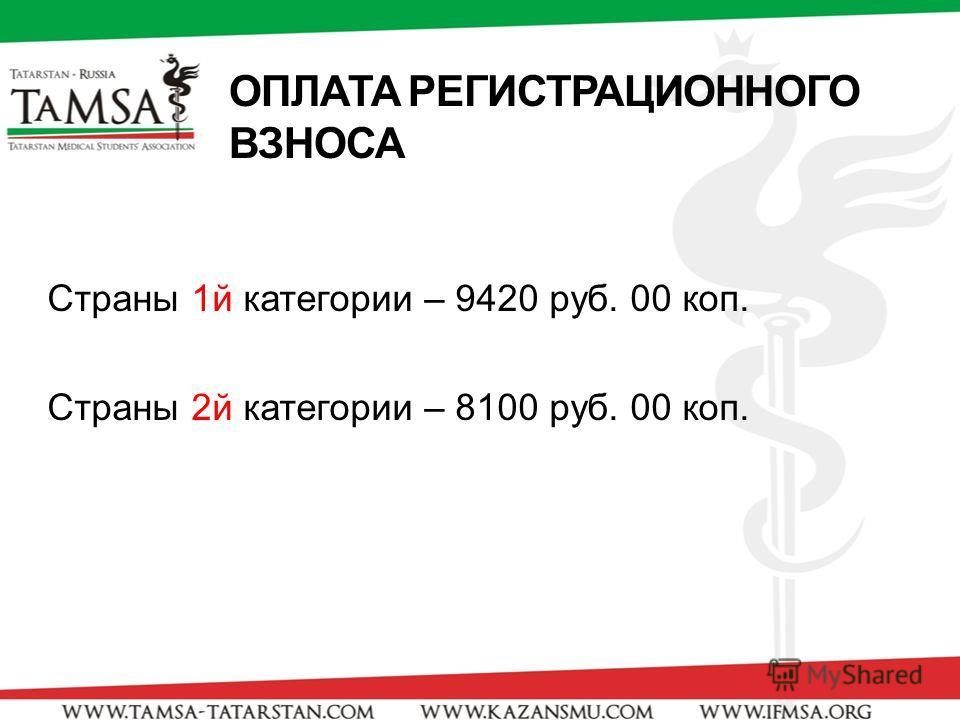 ОПЛАТА РЕГИСТРАЦИОННОГО ВЗНОСА Страны 1й категории – 9420 руб. 00 коп. Страны 2й категории – 8100 руб. 00 коп.