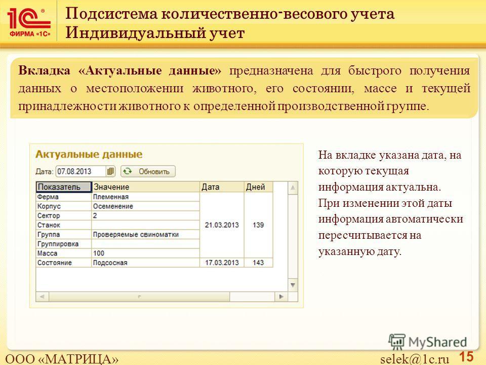 15 На вкладке указана дата, на которую текущая информация актуальна. При изменении этой даты информация автоматически пересчитывается на указанную дату. Вкладка «Актуальные данные» предназначена для быстрого получения данных о местоположении животног