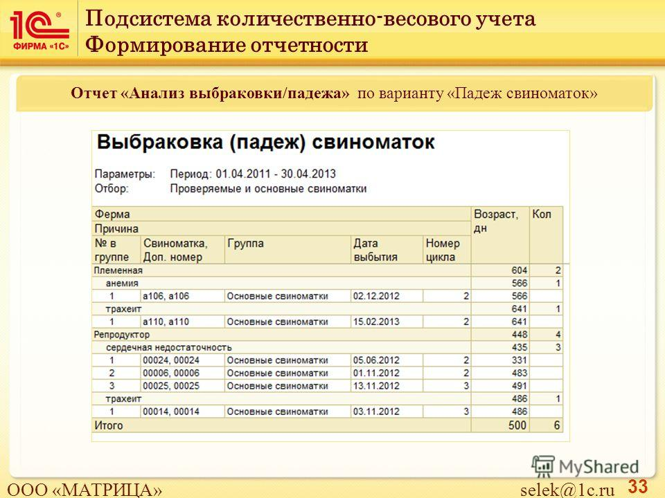 33 Отчет «Анализ выбраковки/падежа» по варианту «Падеж свиноматок» Подсистема количественно-весового учета Формирование отчетности ООО «МАТРИЦА» selek@1c.ru