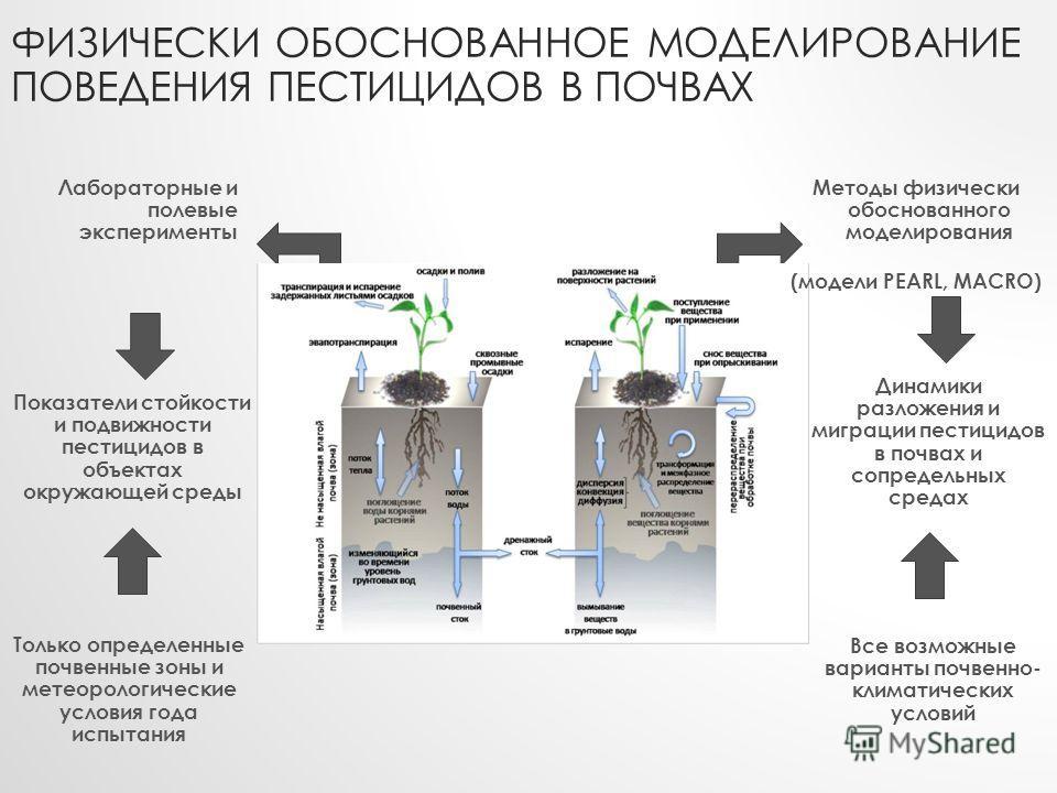 ФИЗИЧЕСКИ ОБОСНОВАННОЕ МОДЕЛИРОВАНИЕ ПОВЕДЕНИЯ ПЕСТИЦИДОВ В ПОЧВАХ Лабораторные и полевые эксперименты Методы физически обоснованного моделирования (модели PEARL, MACRO) Показатели стойкости и подвижности пестицидов в объектах окружающей среды Динами