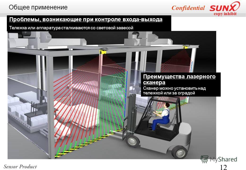 copy inhibit Confidential 12 Проблемы, возникающие при контроле входа-выхода Тележка или аппаратура сталкиваются со световой завесой Общее применение Преимущества лазерного сканера Сканер можно установить над тележкой или за оградой