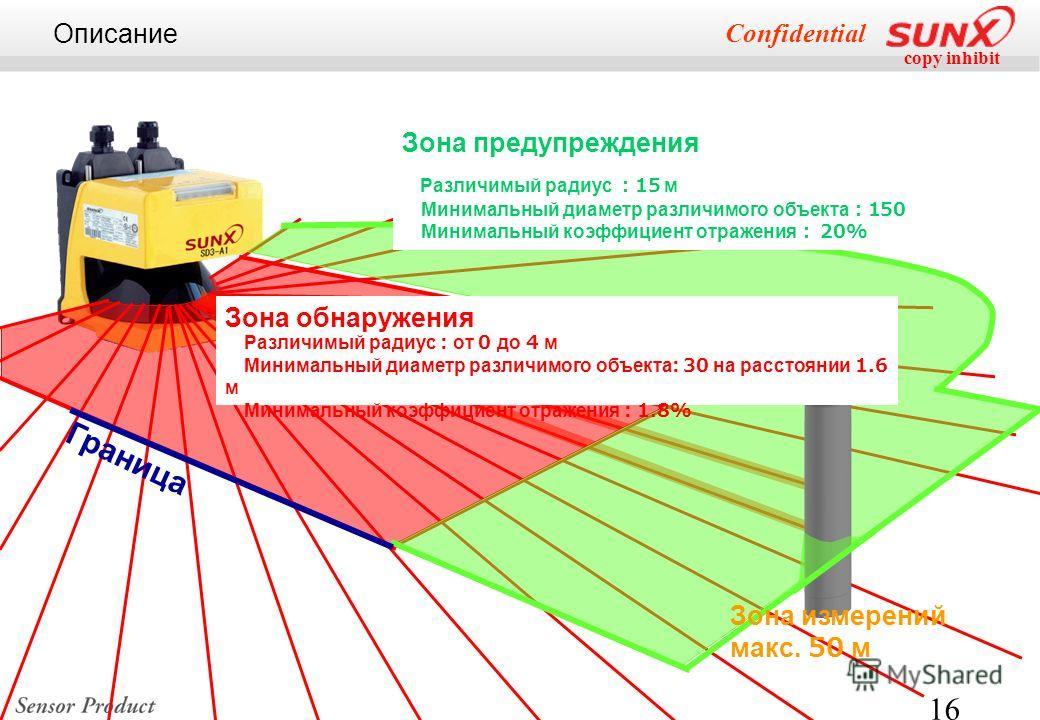copy inhibit Confidential 16 Зона предупреждения Различимый радиус 15 м Минимальный диаметр различимого объекта 150 Минимальный коэффициент отражения 20% Граница Зона обнаружения Различимый радиус : от 0 до 4 м Минимальный диаметр различимого объекта