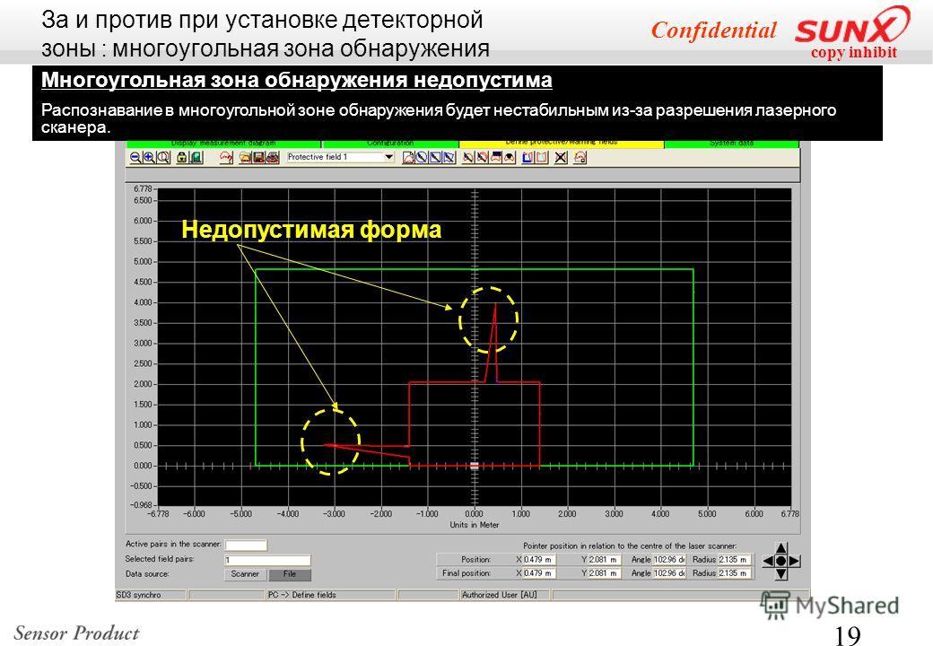 copy inhibit Confidential 19 Многоугольная зона обнаружения недопустима Распознавание в многоугольной зоне обнаружения будет нестабильным из-за разрешения лазерного сканера. Недопустимая форма За и против при установке детекторной зоны : многоугольна