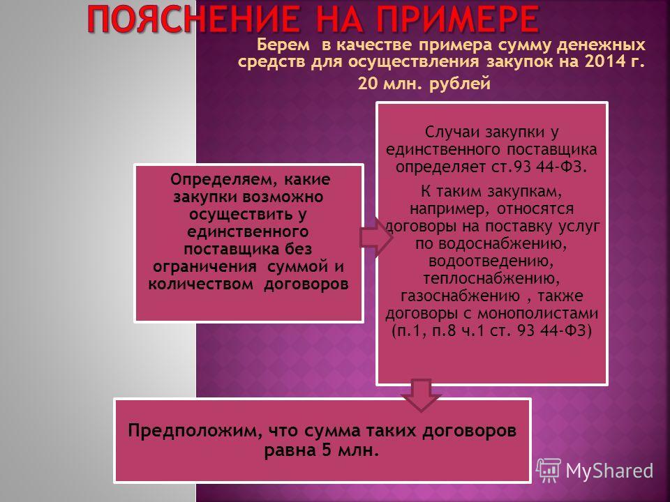 Берем в качестве примера сумму денежных средств для осуществления закупок на 2014 г. 20 млн. рублей Определяем, какие закупки возможно осуществить у единственного поставщика без ограничения суммой и количеством договоров Случаи закупки у единственног