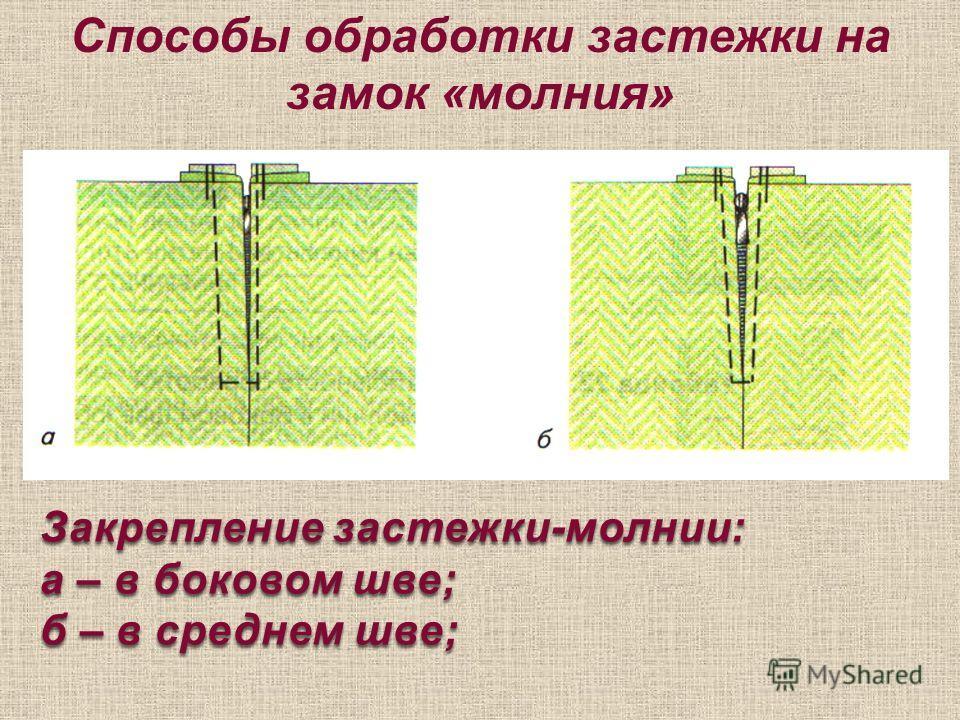 Способы обработки застежки на замок «молния» Закрепление застежки-молнии: а – в боковом шве; б – в среднем шве;