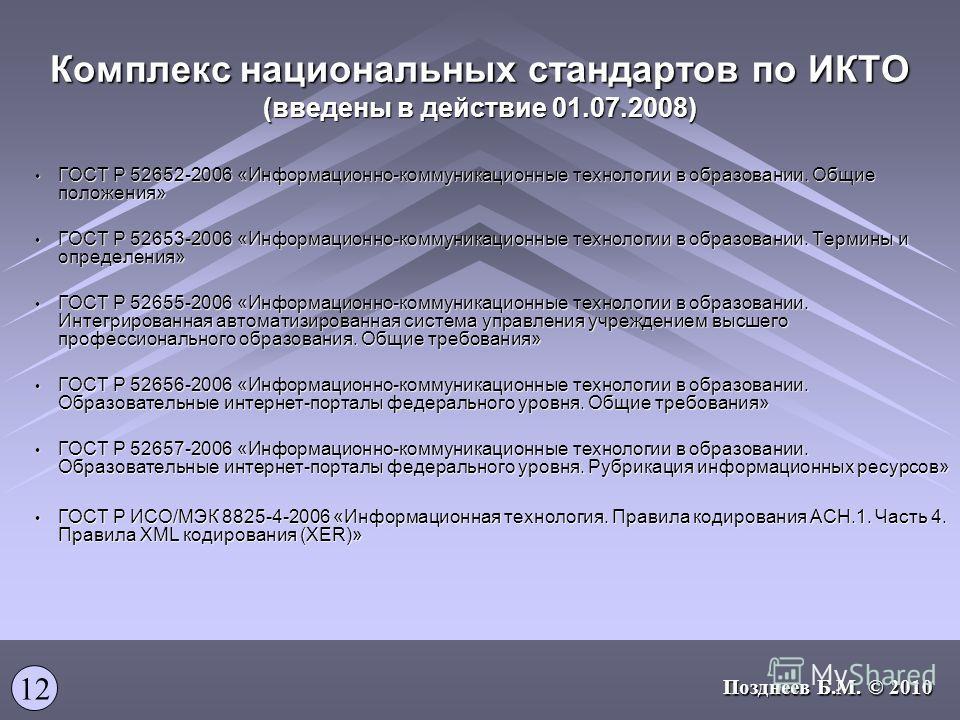 Комплекс национальных стандартов по ИКТО (введены в действие 01.07.2008) ГОСТ Р 52652-2006 «Информационно-коммуникационные технологии в образовании. Общие положения» ГОСТ Р 52652-2006 «Информационно-коммуникационные технологии в образовании. Общие по