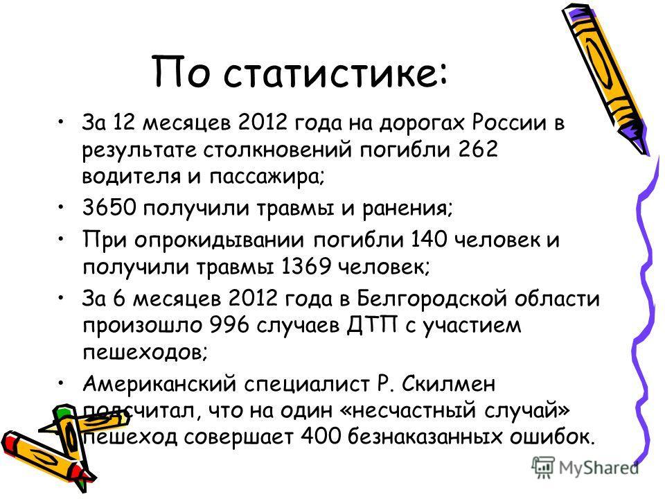 По статистике: За 12 месяцев 2012 года на дорогах России в результате столкновений погибли 262 водителя и пассажира; 3650 получили травмы и ранения; При опрокидывании погибли 140 человек и получили травмы 1369 человек; За 6 месяцев 2012 года в Белгор