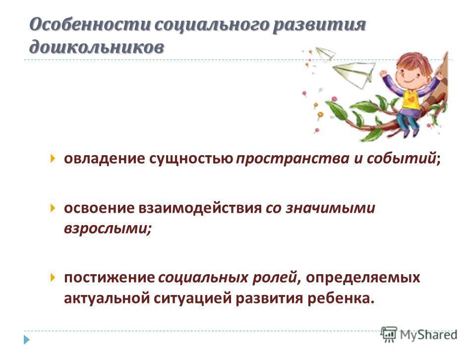 Особенности социального развития дошкольников овладение сущностью пространства и событий ; освоение взаимодействия со значимыми взрослыми ; постижение социальных ролей, определяемых актуальной ситуацией развития ребенка.