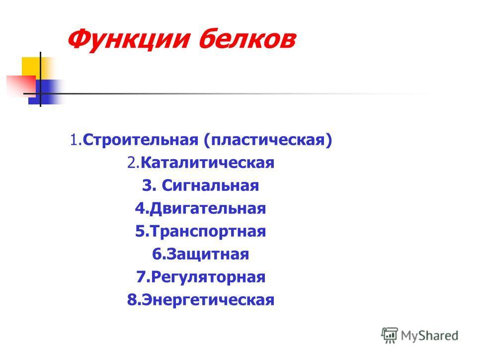 Функции белков 1.Строительная (пластическая) 2.Каталитическая 3. Сигнальная 4.Двигательная 5.Транспортная 6.Защитная 7.Регуляторная 8.Энергетическая